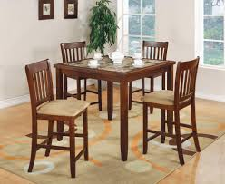 5 pc edmonton square faux marble bar height dining table set by