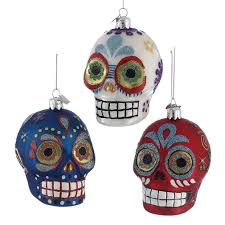of the dead skull glass christmas ornament