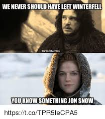 Jon Snow Memes - wenevershould have leftwinterfell thrones memes you know something