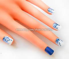 24 blue fake nails glitter nails press on nails acrylic