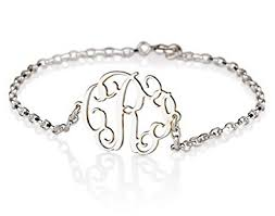 monogram bracelet sterling silver monogram bracelet sterling silver personalized name