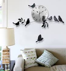 wall clock birds designer decal mural art living room home office