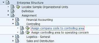 controlling definition assign company code to controlling area transaction ox19