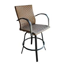 Wicker Bar Height Patio Set Exterior Outdoor Wicker Swivel Bar Stools With Cast Iron Armrest