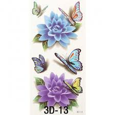 3d butterfly flower style temporary flash