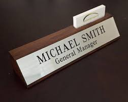 Desk Name Plates With Business Card Holder Engraved Name Plate Etsy