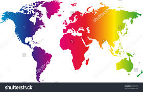 Primary Map World Map Painted Seven Primary Colours Stock Vector 37932370