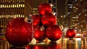 giant christmas ornaments in manhattan holiday hd wallpaper