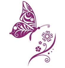 Butterfly Flower Inwrought Butterfly Silhouette And Flower Vector Image