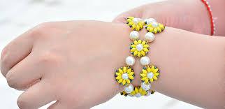 flower beaded bracelet images Crafting wire diy fresh yellow flower seed bead bracelet jpg