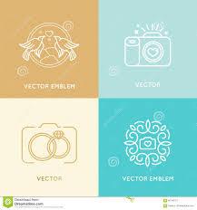 vector set of wedding photography logo design templates stock