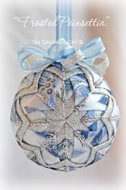 blue and silver ornament poinsettia quilted