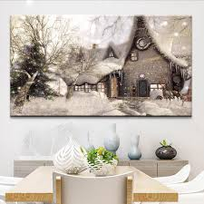 snow house landscape giclee print canvas wall art for home decor