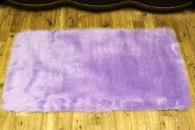 Washable Sheepskin Rug High Quality Soft Fluffy Plain Washable Lilac Colour Faux Fur