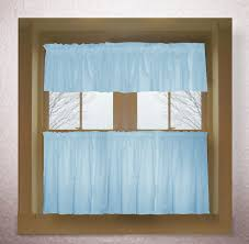Drapery Valance Light Baby Blue Color Tier Kitchen Curtain Two Panel Set