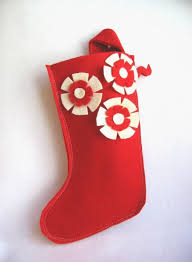 modern recycled felt christmas stocking in red with red and cream