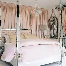 Four Poster Bed Curtains Drapes Bedrooms Mirrored Headboard Mirror Headboard Mirrored Bed
