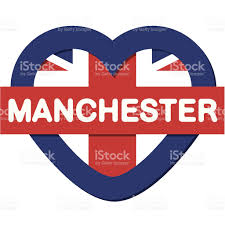 love england collection vector manchester heart and flag stock
