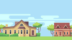 house animated animated background with rural landscape with country houses