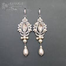Chandelier Pearl Earrings For Wedding Bridal Chandelier Earrings Wedding Earrings By Adriajewelry
