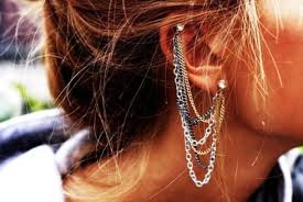 cuff earrings with chain jewels ear cuff earrings earrings ear piercings chain ear
