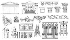 architecture and ornaments vector set royalty free cliparts
