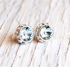 aquamarine earrings icy light aquamarine earrings sugar sparklers small swarovski