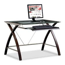 Office Table With Glass Top Appealing Cheap Computer Desk L Shape Glass Top Material Metal