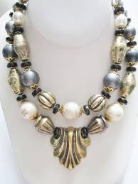 vintage double bead strand necklace unique centerpiece gold