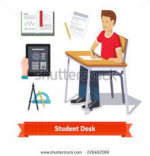 Student Desk Clipart Young Caucasian Student Sitting Table Thinking Stock Vector