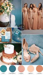 teal wedding teal and copper wedding color ideas copper bridesmaids dresses