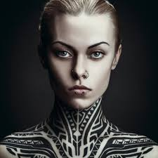 serious look neck and shoulders tribal tattoo best tattoo ideas