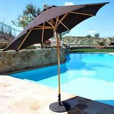 black brown rectangle patio umbrella with solar lights combined