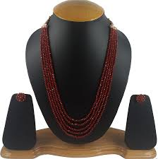 color crystal necklace images Buy aradhya five layer mehroon and grass green combo color jpg