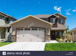 split level garage contemporary split level house with garage in front stock photo