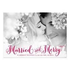 Newlywed Cards Red Married And Merry Newlywed Christmas Card Christmas Wedding