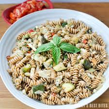 mediterranean pasta salad with summer fresh vegetables