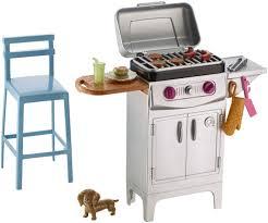 Outdoor Barbecue Amazon Com Barbie Bbq Grill Furniture U0026 Accessory Set Toys U0026 Games