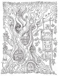 White Oak Tree Drawing Vector Hand Drawn Fantasy Old Oak Tree With Fairy Tale House With