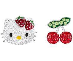 hello earrings hello fruits pierced earrings multi colored rhodium