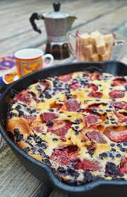 berry clafoutis rustic plate