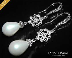 Chandelier Pearl Earrings For Wedding White Teardrop Pearl Chandelier Earrings Dangle Pearl Silver