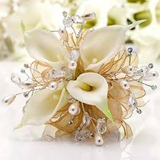 White Corsages For Prom Twilight Prom Corsage White Calla Lilies With Pearl Sprays And