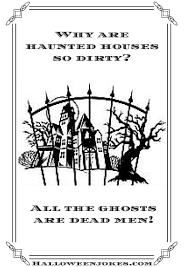 black and white halloween joke cartoon haunted house fence black