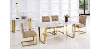 Gold Dining Chairs 5pc Gold Dining Set By Meridian Furniture