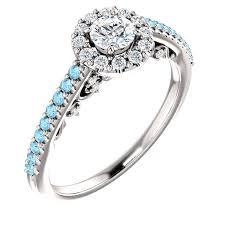 snubny prsten zásnubný prsteň z bieleho zlata so zirkónmi a akvamarínom