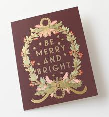 be merry and bright wreath greeting card by rifle paper co made
