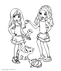 girls with their pets coloring page