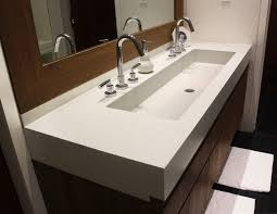 Trough Bathroom Sink With Two Faucets by Trough Sinks For Efficient Bathroom And Kitchen Ideas Homesfeed