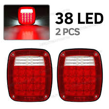 led lights for semi trucks pair jeep style 38led stop turn tail lights w license l semi